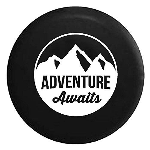 Adventure Awaits Mountain View Spare Jeep Wrangler Camper SUV Tire Cover White Ink 33 in