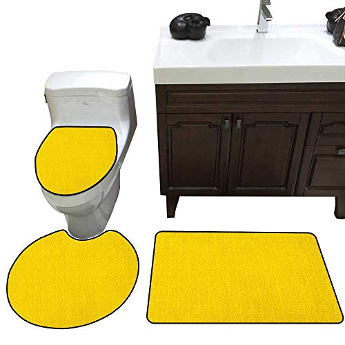 Ivy Leaf Pedestal - Yellow Bathroom 3-Piece Mat Sets Modern Leaf Branch with Abstract Ivy Vines Pattern Artwork with Flower Like Art Circles Pedestal Mat+Lid Toilet Cover+Bath Mat Doormat Non-Slip Yellow