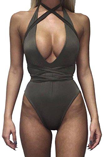 Kisscy Women's Halter Deep V-Neck Crisscross Bandage Monokini Bikinis Grey