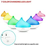 Sterline Ultrasonic Aromatherapy Essential Oil Diffuser, Aroma Humidifier with 300ml Capacity, Cool Mist with Led Changing Light and 3 Timer Settings for Home Office, Yoga Spa, or Bedroom