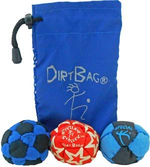 Dirtbag Medley Footbag Hacky Sack 3 Pack - Blue/Black by Dirtbag