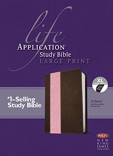 NKJV Life Application Study Bible, Second Edition, Large Print, TuTone (Red Letter, LeatherLike, Dark Brown/Pink, Indexed)