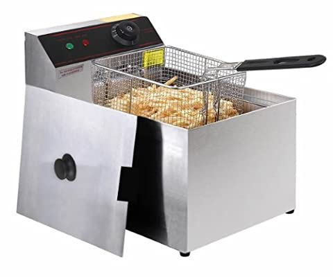 2500W Deep Fryer Electric Commercial Tabletop Restaurant Frying w/ Basket Scoop - Self Cleaning Stainless Steel Grill