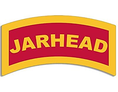 GHaynes Distributing Red/Yellow JARHEAD Tab Shaped Sticker Decal (usmc marine military) Size: 3 x 5 inch