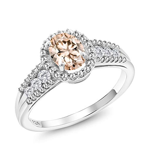 - Gem Stone King 0.89 Ct Oval Peach Morganite White Created Sapphire 925 Sterling Silver Ring