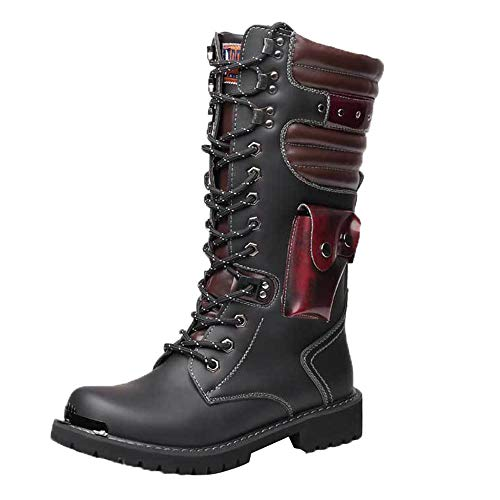 Martin boots High Tube Men's, 37-46 Large Size Boys' Boots, Vintage Leather Motorcycle Boots from Martin boots