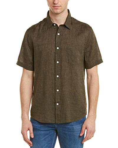 Vince Mens Washed Buttondown Shirt, L, Green