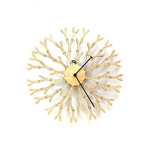 Dandelion - Unique 'Interactive' Wooden Wall Clock (Is Run Birch Where)