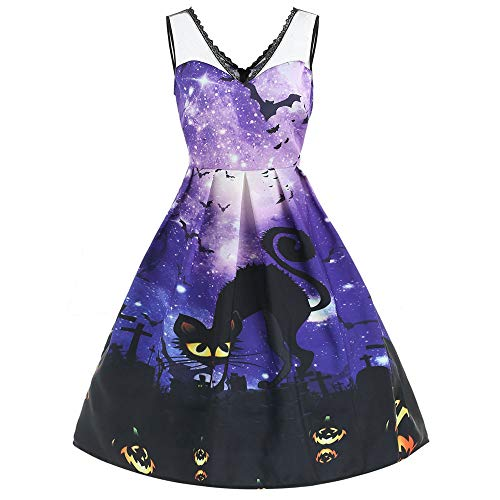 Women Sleeveless Galaxy Print Cat Halloween Evening Prom Costume Swing Dress ()