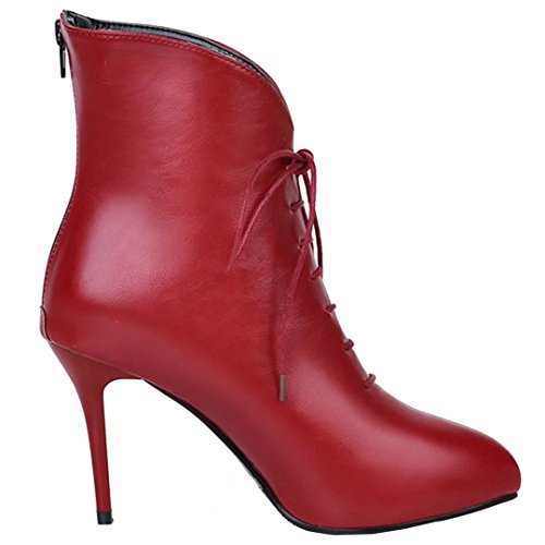 AIYOUMEI Damen Stiletto Stilefeletten mit Schnürung und 9cm Absatz Reißverschluss Stiefel Schnürstiefeletten Rot