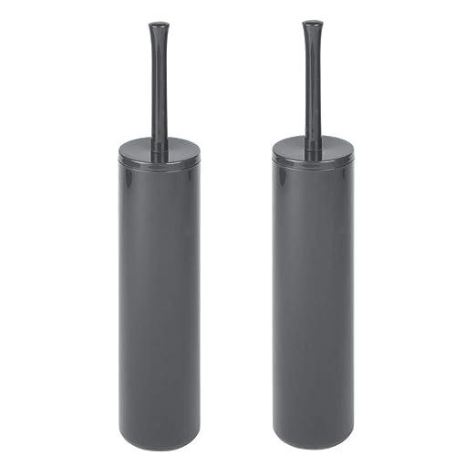 Moderno y elegante soporte con escobilla de ba/ño En pl/ástico duradero negro Fabricaci/ón de alta calidad mDesign Escobillero de ba/ño con cepillo para inodoro