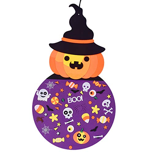 Halloween Witch Hand Craft (Max Fun 2.8 Ft DIY Witch Felt Crafts Ornaments with Hanging Craft Kits for Kids Halloween Birthday Party)