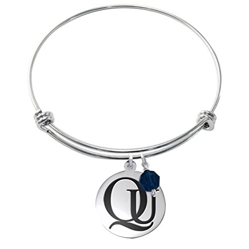 Quinnipiac University Bobcats Stainless Steel Adjustable Bangle Bracelet with Round Charm & Crystal Accent