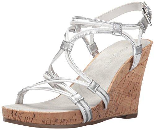 Aerosoles Women's Real Plush Wedge Sandal, White Combination, 7 M US Leather Strappy Heel Wedge Sandal