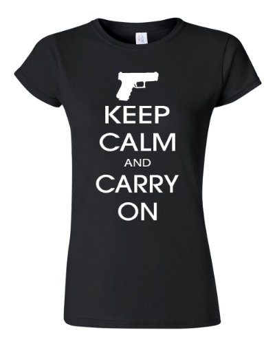 Junior Keep Calm And Carry On Gun Rights Black T-Shirt Tee