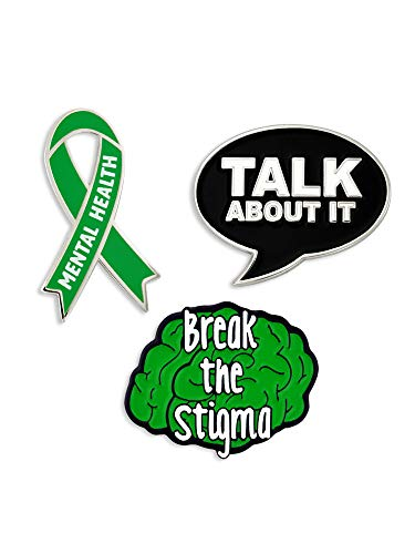 Pin Awareness - PinMart Mental Health Green Awareness Ribbon Break The Stigma Enamel Pin Set