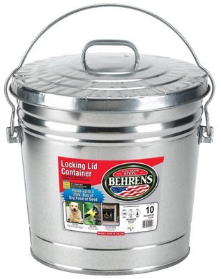Behrens FBA High Grade 6110 10 Gal Silver Galvanized Steel Dry Storage Can W/Locking Lid