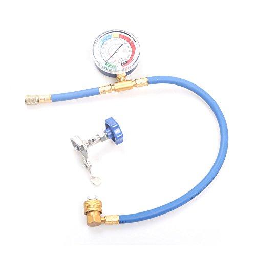 CSLU-Tool R12 R22 R134A Refrigerant Recharge Hose with Charging Pipe Hose Measuring Gauge PSI KPA Can Tap Measuring Charging Pipe Gauge (Adapter Fuel Tap)