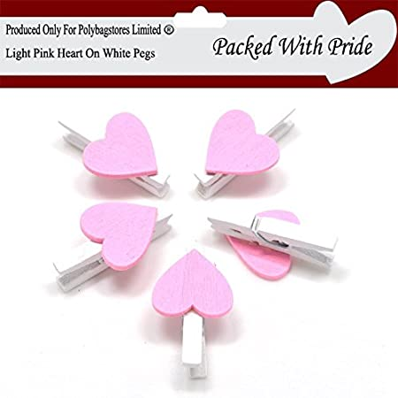 WHITE WOODEN CRAFT PEGS WITH COLOURED HEARTS 30mm 21 COLOURS TO CHOOSE FROM