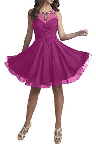 mit Weinrot Kurz Abendkleider mia Braut Perlen Damen Cocktailkleider La Chiffon Pink Ballkleider Promkleider txgqvxT