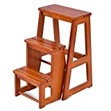 Costzon Folding Step Stool 3 Tier Wood Ladder (Nut-Brown)