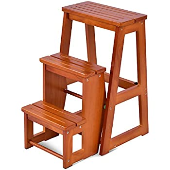 Amazon Com Colibrox Wood Step Stool Folding 3 Tier