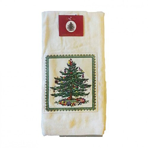 Avanti Spode Christmas Tree Applique Kitchen Towel - Ecru - Set of 2 - Spode Christmas Tree Fabric