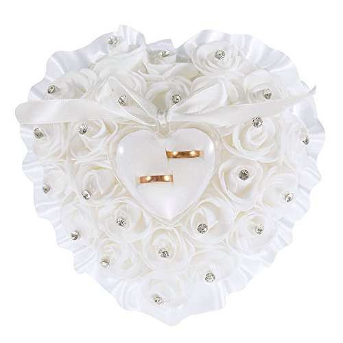 - LONGBLE Heart Shape Wedding Ring Pillow White Elegant Rose and Rhinestone Decoration Ring Cushion Bearer Box Jewery Case with Ribbon Bowknot Ceremony Supplies Gift(W5)