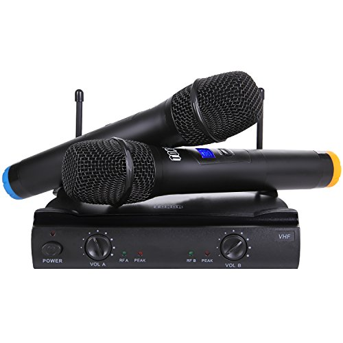 TONOR VHF Wireless Microphone System, 2 Handheld Fixed Frequency Mics, Compatible with Speaker/Power Amplifier/Karaoke Machine/Laptop (3.5mm adapter included) for Home KTV, Conference, Lecture, Black - Handheld Home Adaptor
