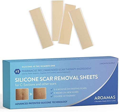 Aroamas Professional Silicone Scar Removal Sheets for Scars Caused by C-Section, Surgery, Burn, Keloid, Acne, and more, Soft Adhesive Fabric Strips, Drug-Free, 5.7