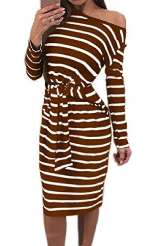 Oblique Bodycon Straps Stripes Fit Coffee Women Comfy Dresses t5FwBqnZ