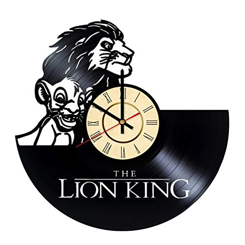 (Simba & Mufasa Vinyl Clock Gift for Walt Disney Fans Wall Decor Lion King Wall Art Living Room Artwork)