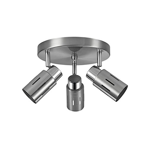 Globe Electric Kenneth 3 Track Canopy Finish, Chrome Accents, LED Bulbs Included 59327, 3 Light, Brushed Steel Nickel Finish Canopies