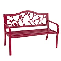 Best Choice Products Steel Patio Garden Park Bench Outdoor Living Patio Furniture, Rose Red