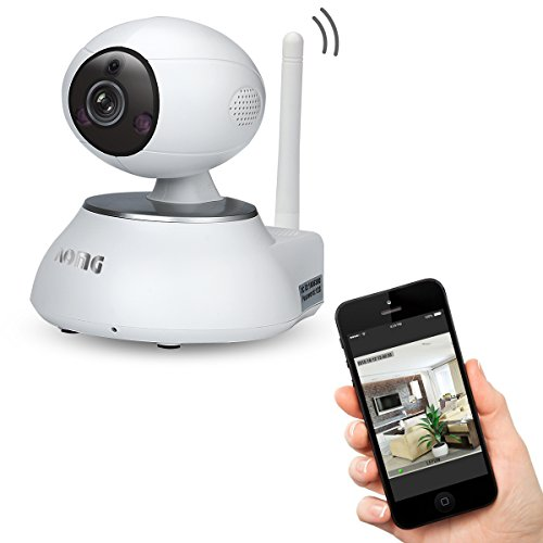 AOMG® FJ8285 720P HD WIFI Surveillance IP Camera with PTZ Night Vision Support Home 64 Wireless Alarm Sensors for Home Security (White)