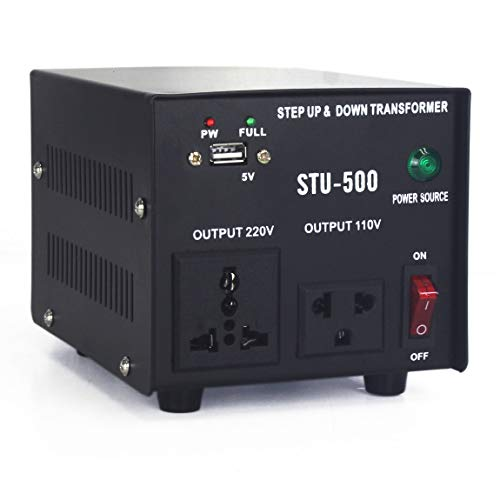 Cp-Tree 500 Watt Auto Step Up & Step Down Voltage Heavy-Duty Transformer Converter Input 110/120/220/240 Volt Conversion Output 110 Volt and 220 Volts and DC 5V USB Port, CE Certified (500VA)