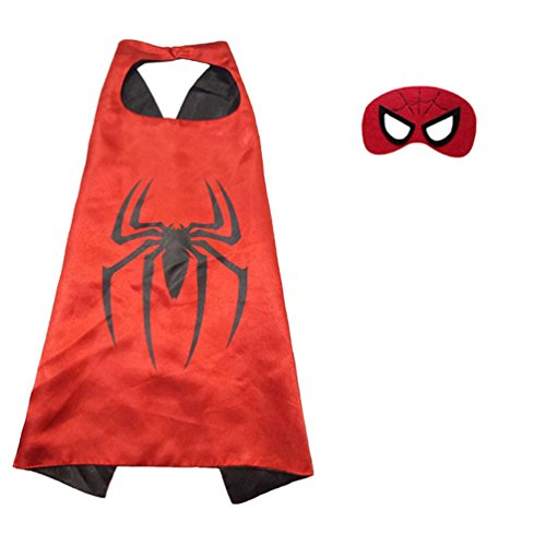 [Superhero or Princess Comics Cartoon Dress Up Costume Cape & Mask Set For Kids Toddlers Pretend Play (Red & Black] (Superhero Outfits Ideas)