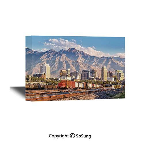 Landscape Canvas Wall Art,Downtown Salt Lake City Skyline in Utah USA Railroads Mountains Buildings Urban,Giclee Print Gallery Wrap Modern Home Decor Ready to Hang,36x24 inch (Best Bike Shop Salt Lake City)
