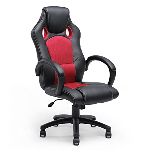 Executive Racing Office Chair PU Leather Swivel Computer Desk Seat High-Back Red (Staples Glass Desk)