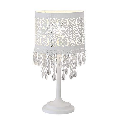 Lámpara de mesa Marrakech, color blanco de metal con diseño oriental y cristales, soporte de lámpara, pantalla de…