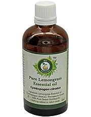 Citrongräs Eteriska Olja | Cymbopogon Citratus | Citrongräs Olja | För Hår | 100% Ren Naturlig | Ång Destillerad | Terapeutisk Grade | Lemongrass Essential Oil |50ml | 1.69oz By R V Essential
