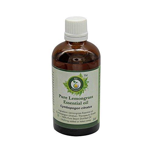 R V Essential Pura hierba de limón 100ml de aceite esencial (3.38 oz)- Cymbopogon citratus (100% puro y natural de Grado...