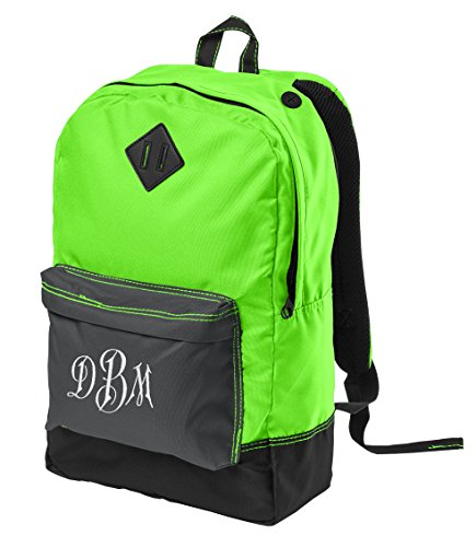 Personalized District Retro Backpack, Neon Green with Emb...