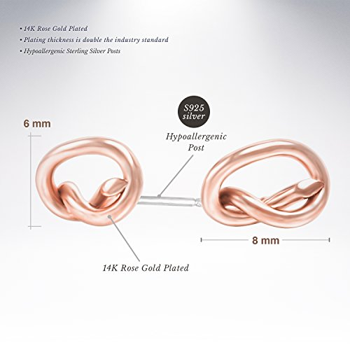 PAVOI 14K Gold Plated Infinity ''Forever Love'' Knot Stud Earrings - Rose by PAVOI (Image #1)