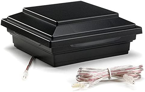 LED Post Cap Light- Square Style, Charcoal Black, BKSQLEDCAP4X4C