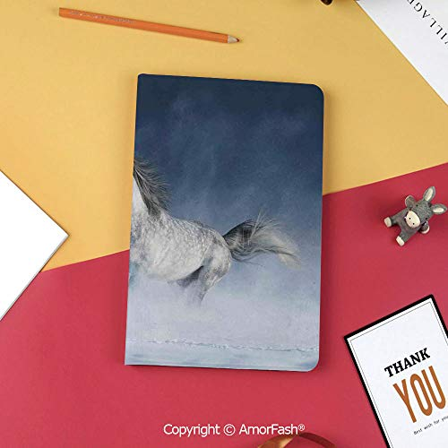 Case for Samsung Galaxy Tab S3 9.7 SM-T820 with Stand,Slim Fit Leather Folio Cover,Arabian,Arabian Horse Galloping During a Snowstorm Stallion Winter Snow View Equine Print,Night Blue