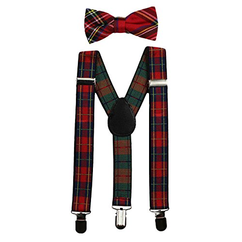 Kids Suspenders and Bow Tie Set (Elastic Adjustable) (Plaid) ()