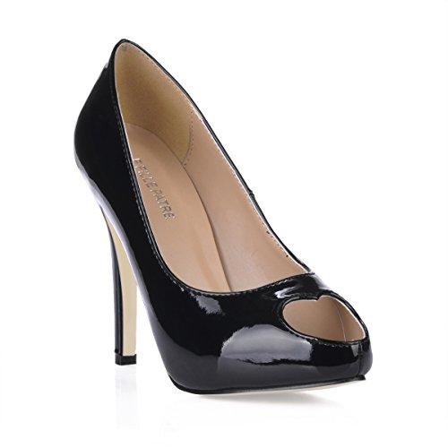 Pompes Stiletto En Forme De Coeur Peep Toe Multi Couleurs Dorsay Talons Hauts Chaussures Dolphingirl Prime Noir