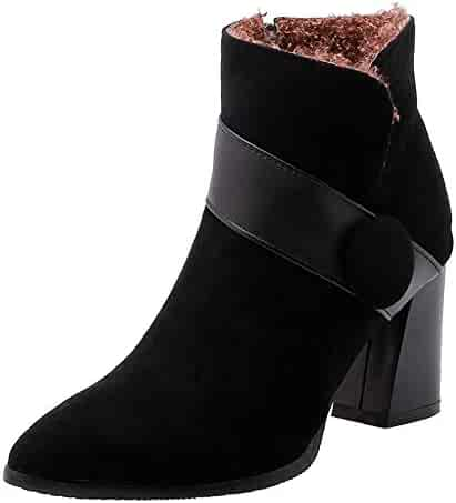 3b80eb7b8f7b2 SHOWHOW Women's Vogue Mid Chunky Heels Frosted Button Band Pointed Toe  Ankle High Zipper Booties for