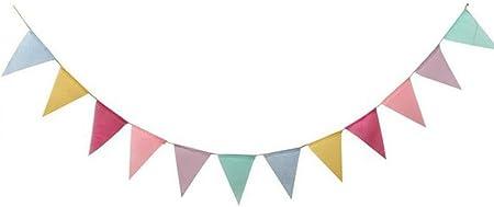 Toruiwa 1X Banderines de Tela Banderines Boda Navidad Decoracion Vintage Banderines Fiesta para decoración de Boda al Aire Libre 17 * 12.5 cm 4M: Amazon.es: Hogar